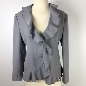Garnet Hill Gray Wool Ruffle Blazer